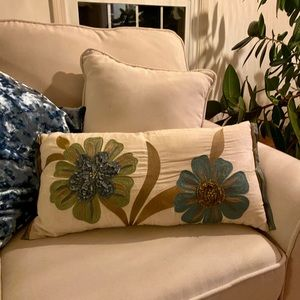 Pier one embroidered pillow. New!
